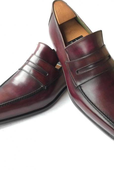 Handmade Men dark burgundy color Leather formal shoes, designer Men dress shoes