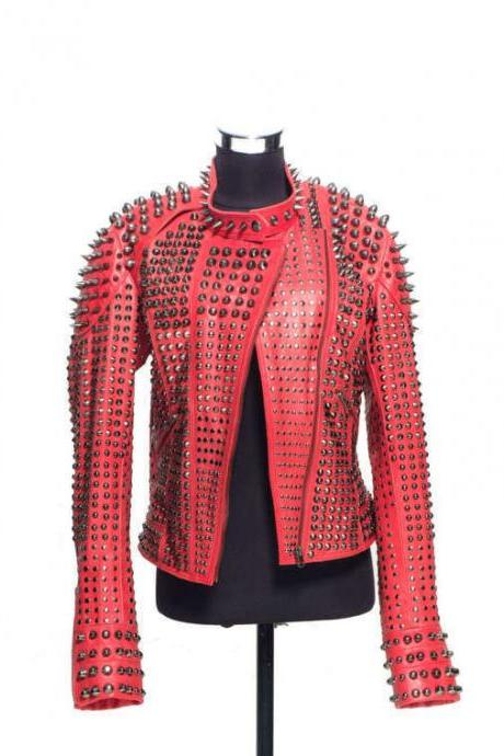 Hand Made Red Color Genuine Leather Jacket Long Spiked Silver Studded For Women