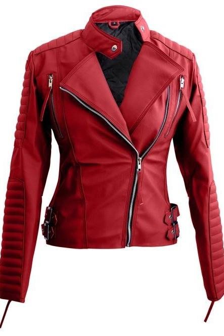 New Handmade Women Red Brando Synthetic Leather Jacket XS TO 5XL