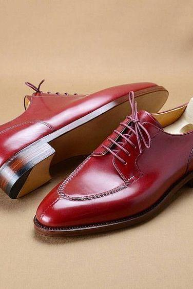 Derby Style Maroon Genuine Leather Pointed Split Toe Lace up Shoes for Men's