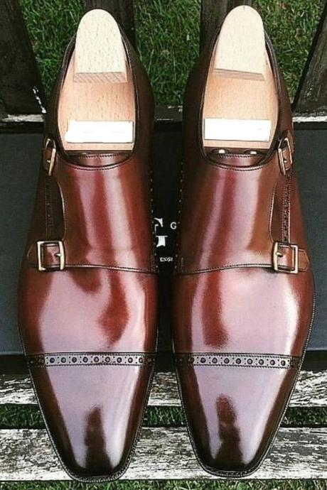 Coffee Brown Monk Double Buckle Strap Plain Cap Toe Real Leather Shoes for Men's