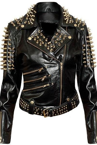 Hand Made Women Black Color Genuine Real Leather Jacket Long Golden Spiked Studs