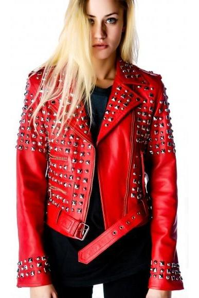 Red Color Genuine Elegant Leather Jacket Silver Studded Belted Waist For Women