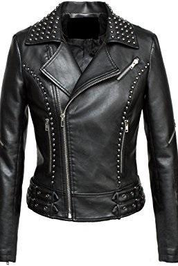 Women Black Color Motor biker Genuine Leather Jacket With Silver Studs Slim Fit