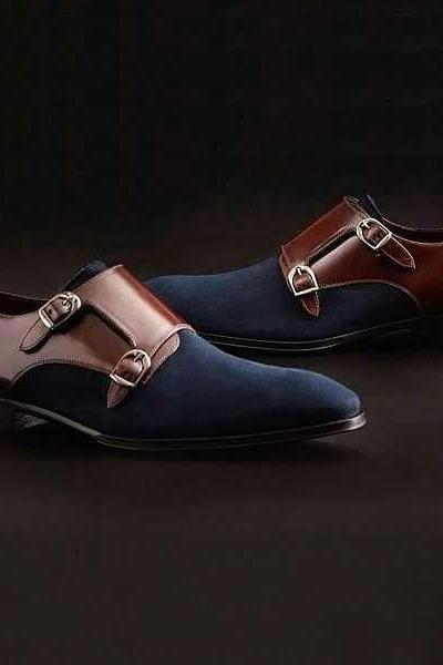 Handmade navy blue suede shoes, Men's Brown leather shoes,Dress Formal Shoes