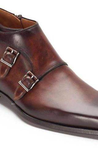 Men's Triple Monk Boots, Formal classic luxury Boots Handmade genuine Leather Boots
