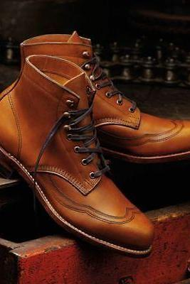 Handmade Men's Wingtip Tan Color ankle boots, Men's ankle leather boots, casual boots
