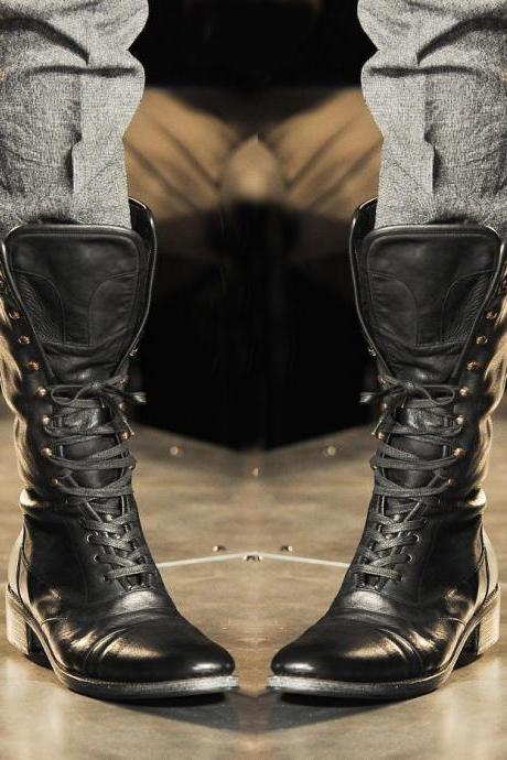 Handmade Men's Military Boots Stylish Leather Boots Long Men leather Boots