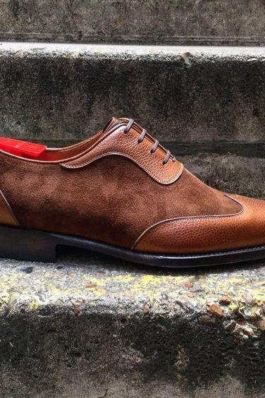 Handmade Men,s Handmade Leather and Suede Shoes Brown Men's dress shoes
