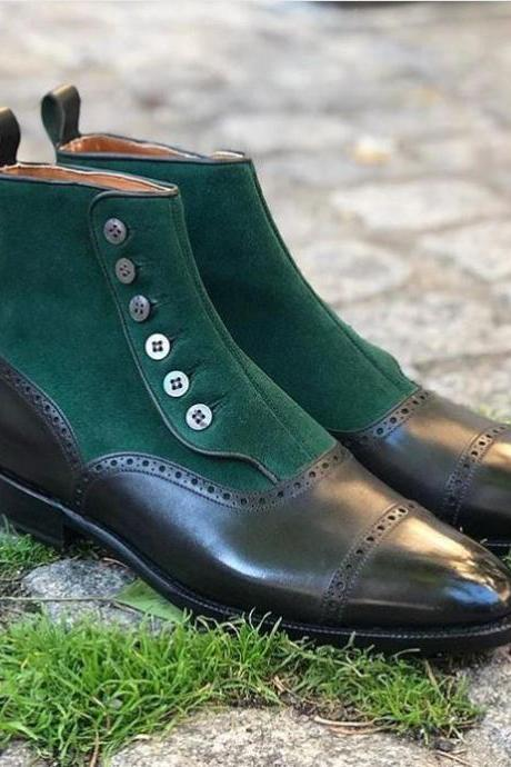 Men,s Button Top Boot, Brogue Green Suede Black Leather Vintage Brown Boots