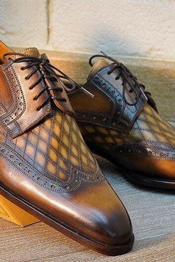 Handmade Men's Brown Shaded Shoes, Men Brogue Style Leather Shoe, Men's Dress Shoes