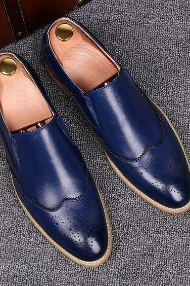 Men's Wing tip Blue Leather Moccasins, Men's Blue Loafer Slip On Shoes
