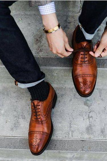Men's brown Oxford Formal shoes Men's brogue dress shoes Leather shoes men