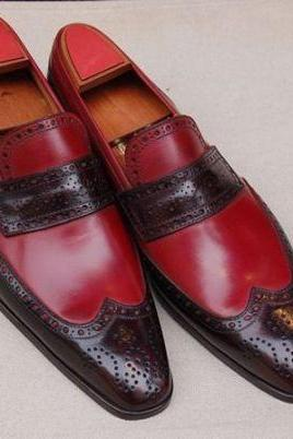 Handmade Men two tone Leather Shoes moccasins slip ons, burgundy and brown shoes