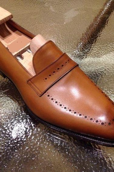 Handmade Men's Tan brown Brogue leather shoes, Men leather moccasins loafer shoes