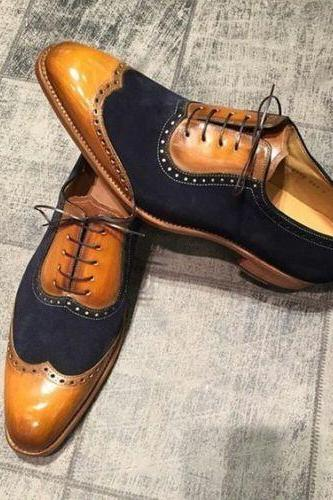 New Handmade Men Classic Brogue Style Wing Tip Leather and Suede Dress Shoes