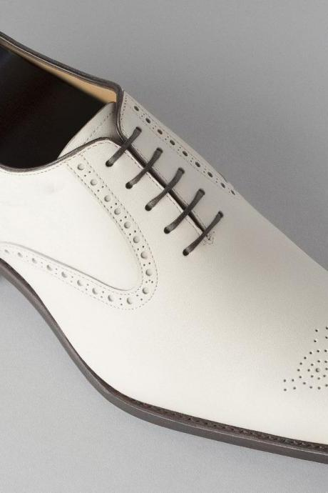 Men's Handmade Classic Style Real Leather White Formal Shoes Men leather shoes