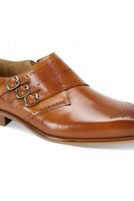 Men,s Handmade Triple Buckle Tan Monk Buckle Straps Original Leather Men Shoes