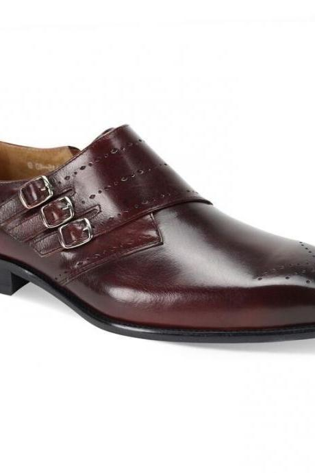 Men,s Handmade Triple Buckle Burgundy Monk Buckle Straps Original Leather Shoes