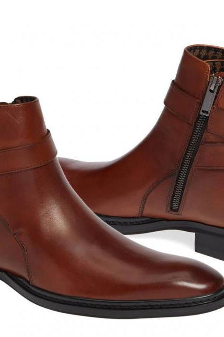 Handmade Men brown Jodhpurs boot, Men brown ankle leather boots, boots for men
