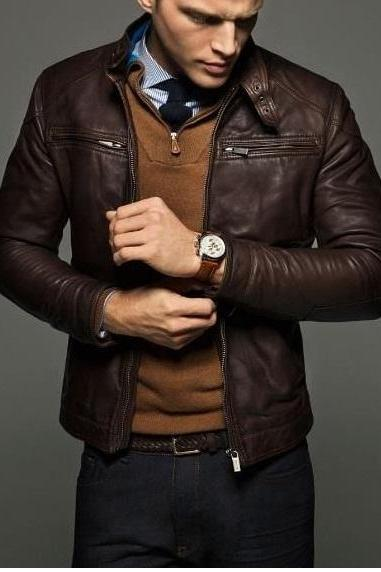 MEN SLIM FIT LEATHER JACKET,MEN JACKETS, BIKER LEATHER JACKET