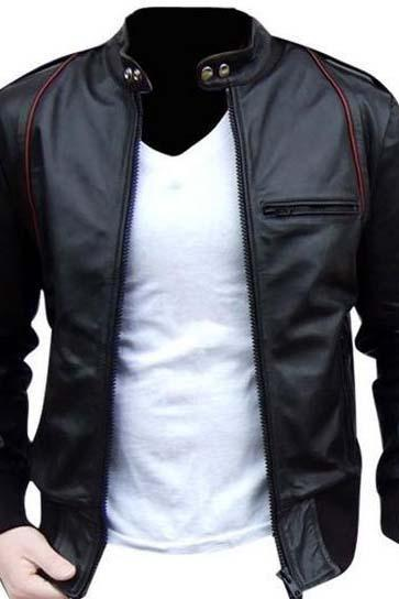 MEN LEATHER JACKET, MEN BIKER LEATHER JACKET, BLACK MENS JACKET