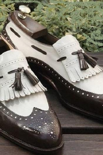 Handmade Men,s Two Tone Brown White Formal Shoes, Men Tassels Shoes Moccasins