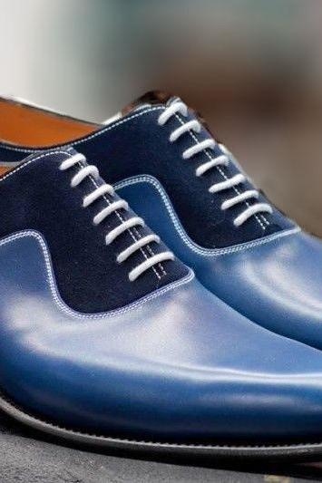 Men's Handmade Oxford Two Tone Shoe,Men's Leather & Suede Blue Dress Office Shoe