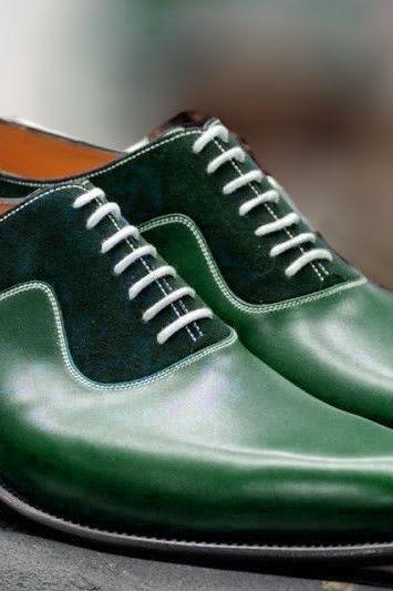 Handmade Green Leather And Suede Shoes, Oxford Designer Shoes, Formal Shoe