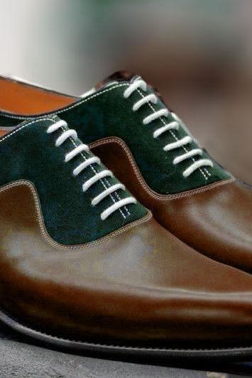Handmade Two Tone Green Brown Leather And Suede Shoes, Oxford Dress Shoes