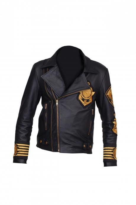 HANDMADE BALMAIN MEN'S SIDE ZIPPER LEATHER BADGE JACKET COATS