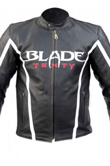 New Customized Men's Handmade Black With White Strips Moto Racer Leather Jacket