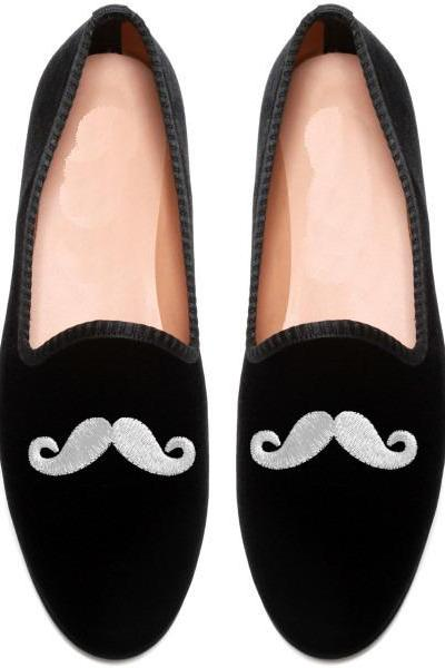 New Handmade mens mustache velvet loafer casual shoes, men velvet shoes.