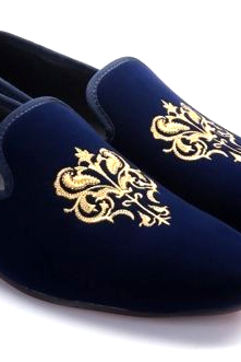 New Handmade Mens Blue Velvet Loafer Casual and Formel Shoes, Men's new velvet