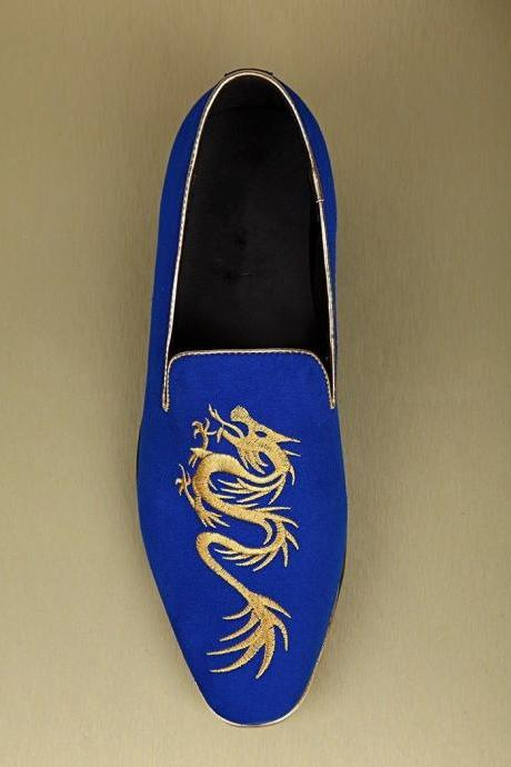 New Handmade Men Blue Velvet Dragon Embroiery Loafer Slippers