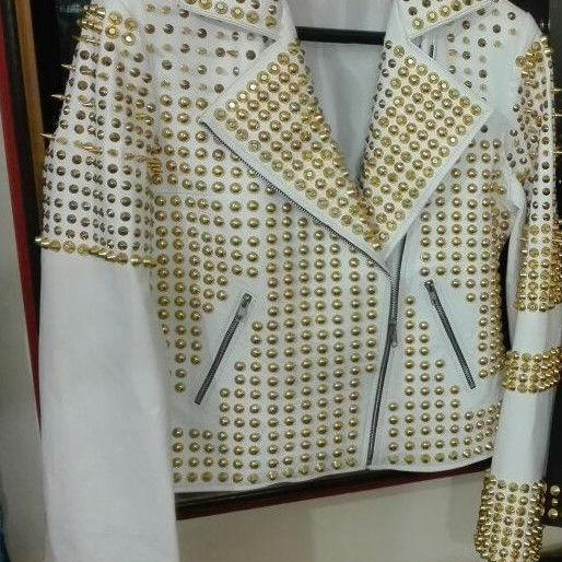 NEW WOMAN PHILIP PLEIN WHITE GOLDEN FULL STUDDED LEATHER JACKET XS TO 6XL