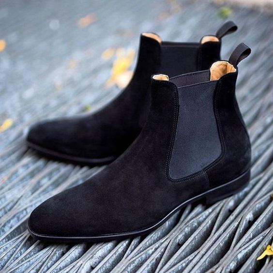 Handmade Custom Mens Black Chelsea Suede Boots, Men Suede Fashion Formal Boots