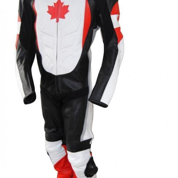 NEW CANADIAN FLAG MOTORBIKE/MOTORCYCLE 2 PIECE SUIT CE SAFETY PADDINGS ALL SIZES