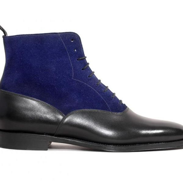 Handmade Men two tone ankle boots, Men Blue and black suede lace up boots