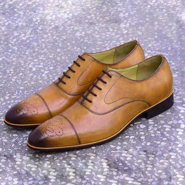 Handmade Oxford Tan Brown shoes, Men Lace up Dress Office Cap Toe Brogues Shoes