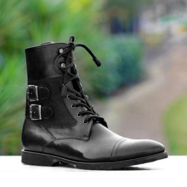 Handmade Ankle High Black Leather Boots, Simple Desert Boots, Men Chelsea Boots