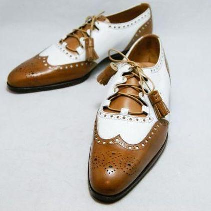 Men,s Oxford Handmade Two Tone shoes, Men White Brown Dress Office Cap Toe Shoe