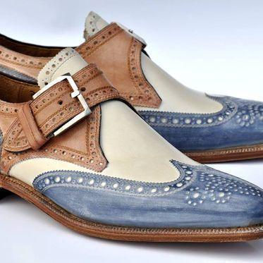 Hand Stitched Men's Classic With Unique Colour Combination Leather Shoes Brogues